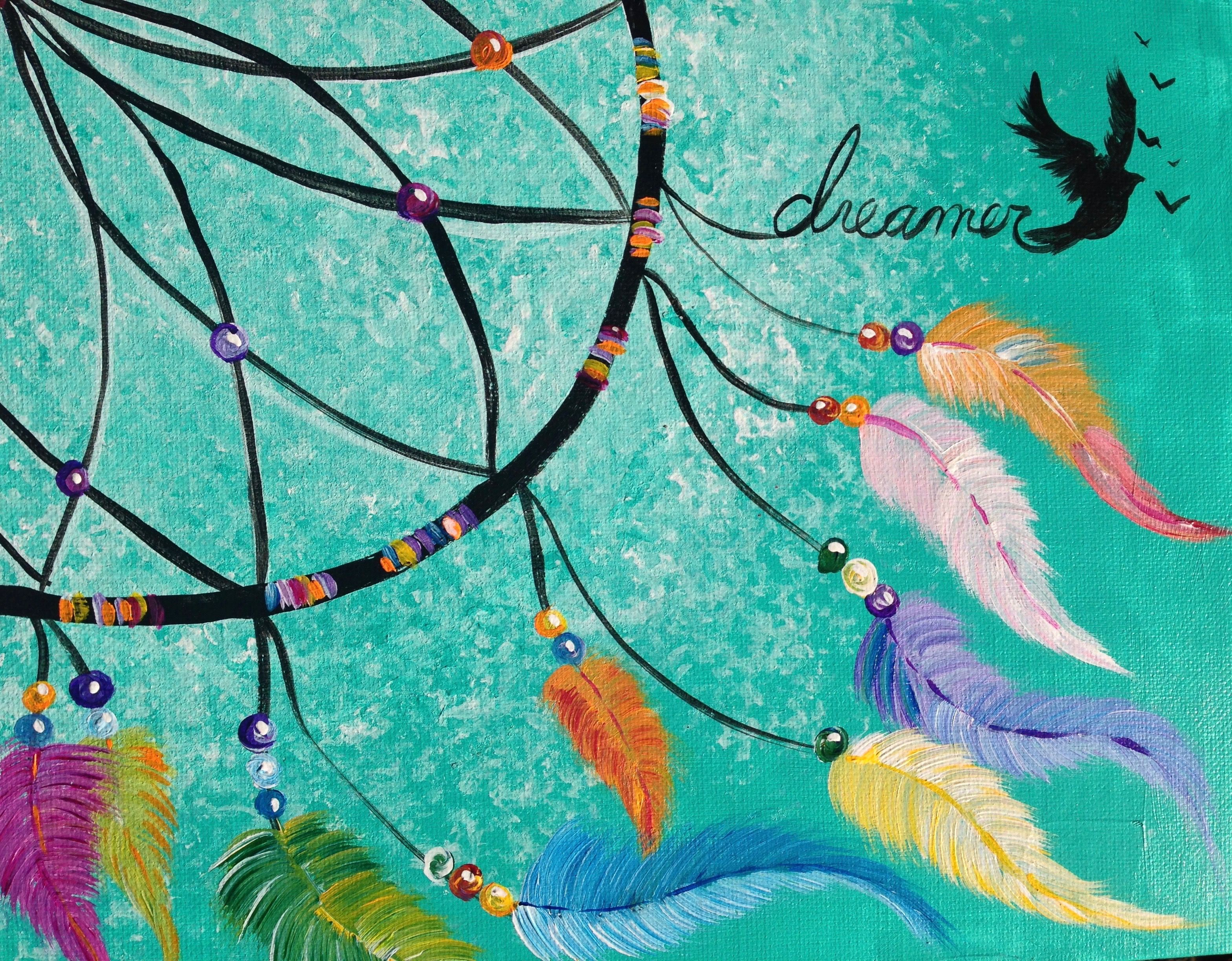 Dreamcatcher Step By Step Acrylic Painting Lesson On Canvas For Beginners Tutorial The Art Sherpa Dream Catcher Painting Canvas Painting Diy Beginner Painting