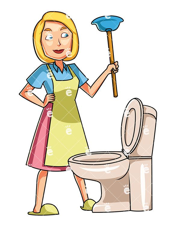 A Woman Holding An Upturned Plunger Near Toilet Bowl Bathroom Blockage Blonde Cartoon Caucasian Character Chore Chores Clean Cleaner