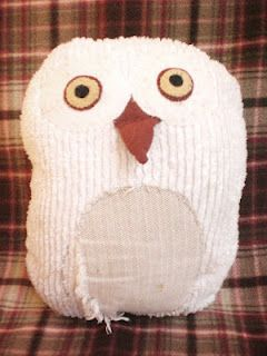 Hoot Hoot the stuffed owl, chenille and felt and upholstery remnants and fiberfill.  by rowena murillo