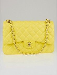 90f8497e4dbd Chanel Yellow Quilted Lambskin Leather Classic Jumbo Double Flap Bag