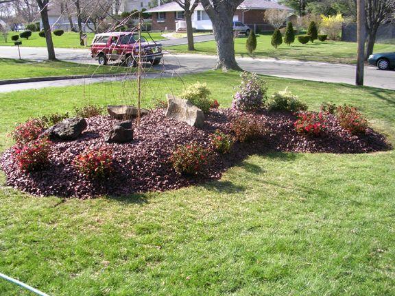 Kidney Shaped Garden Designs Landscape Planting Design Of Raised Burgandy Stone Island And Plants Plants Plant Design Garden Design
