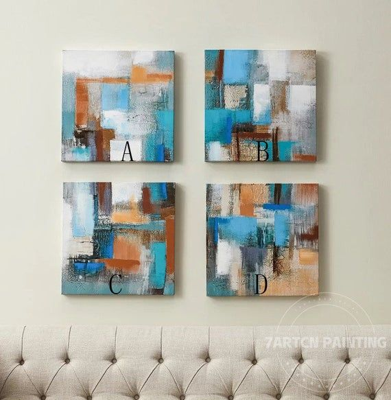 modern abstract blue acrylic canvas painting 4 style on modern acrylic paintings for living room id=59014
