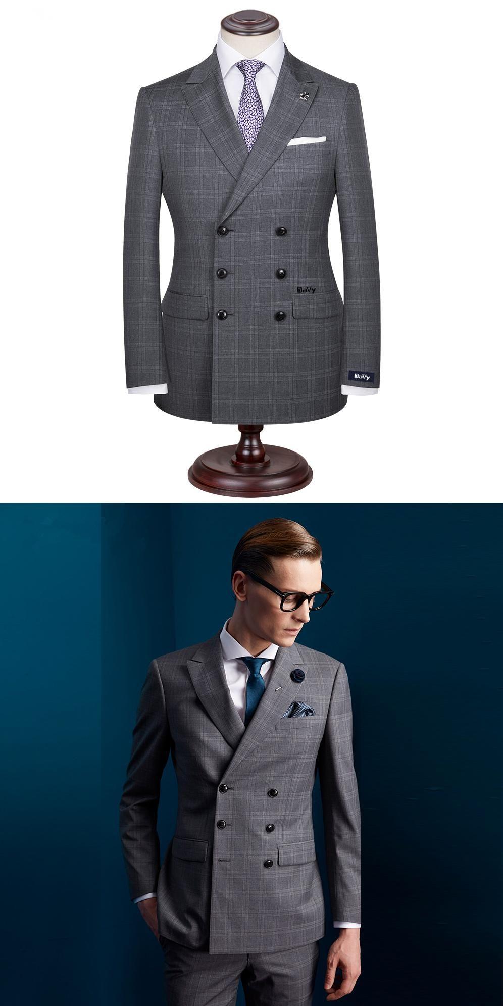 Custom Made Men\'s Wedding Suits Groom Tuxedos Jacket+Pant+Tie Formal ...