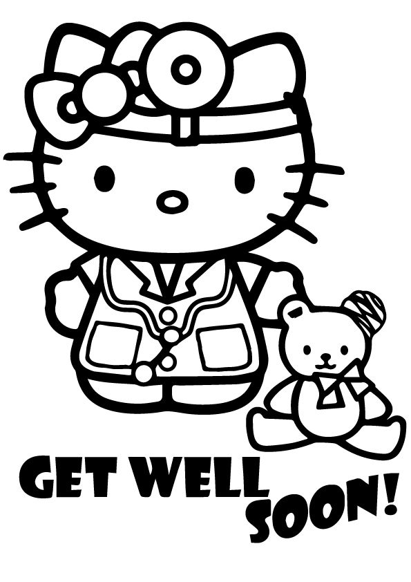 Top 25 Get Well Soon Coloring Pages To Keep Your Toddler Busy Hello Kitty Coloring Hello Kitty Colouring Pages Kitty Coloring