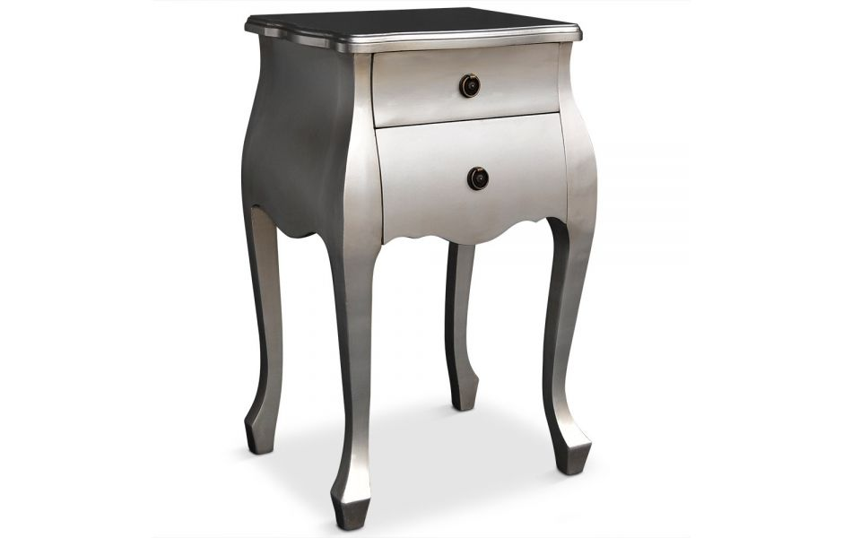 Superbe Table De Chevet Style Baroque #13: Table De Chevet Style Baroque Gris Argent 2 Tiroirs Classy - Decome Store
