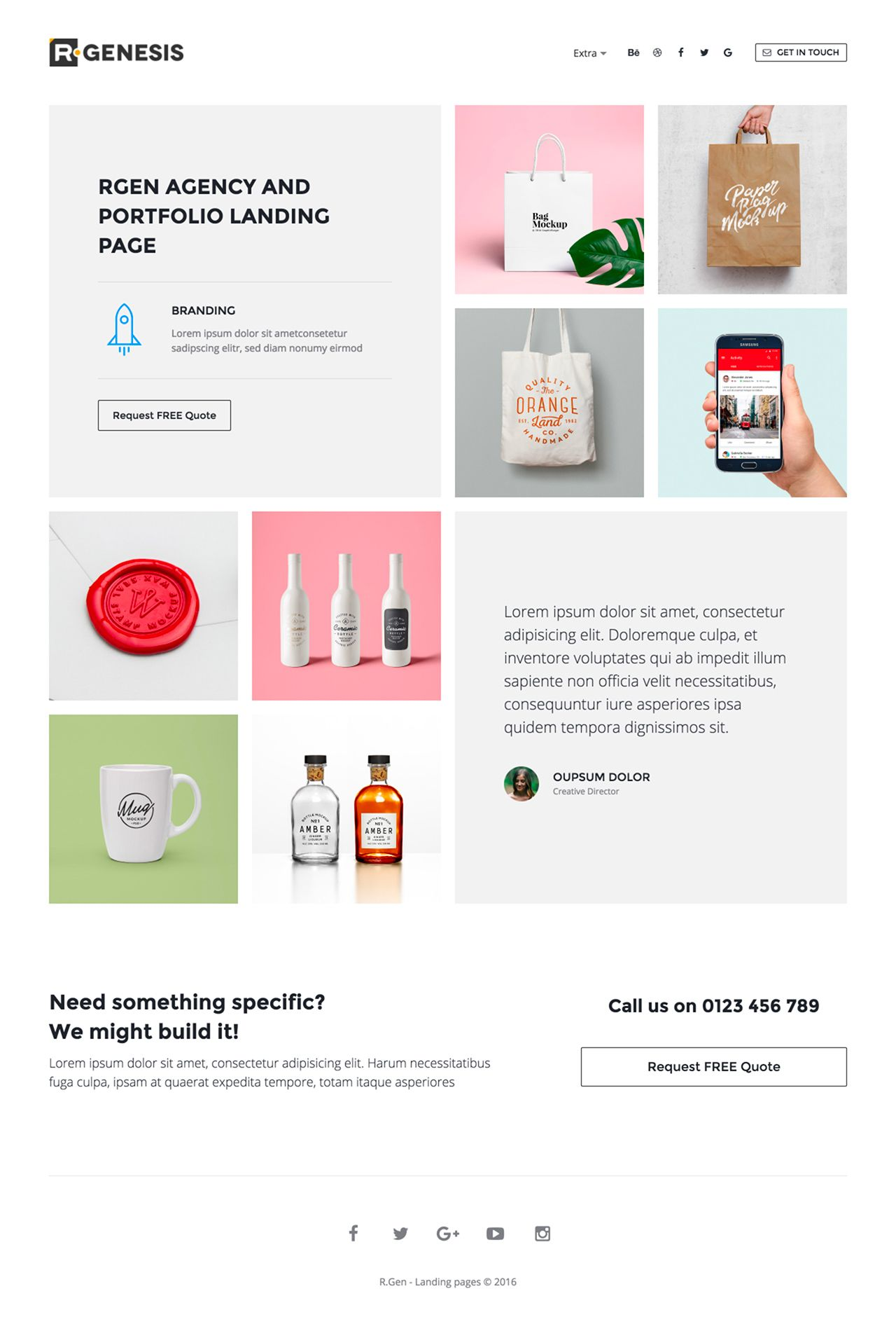The R Gen Agency Landing Page e Page HTML template features a