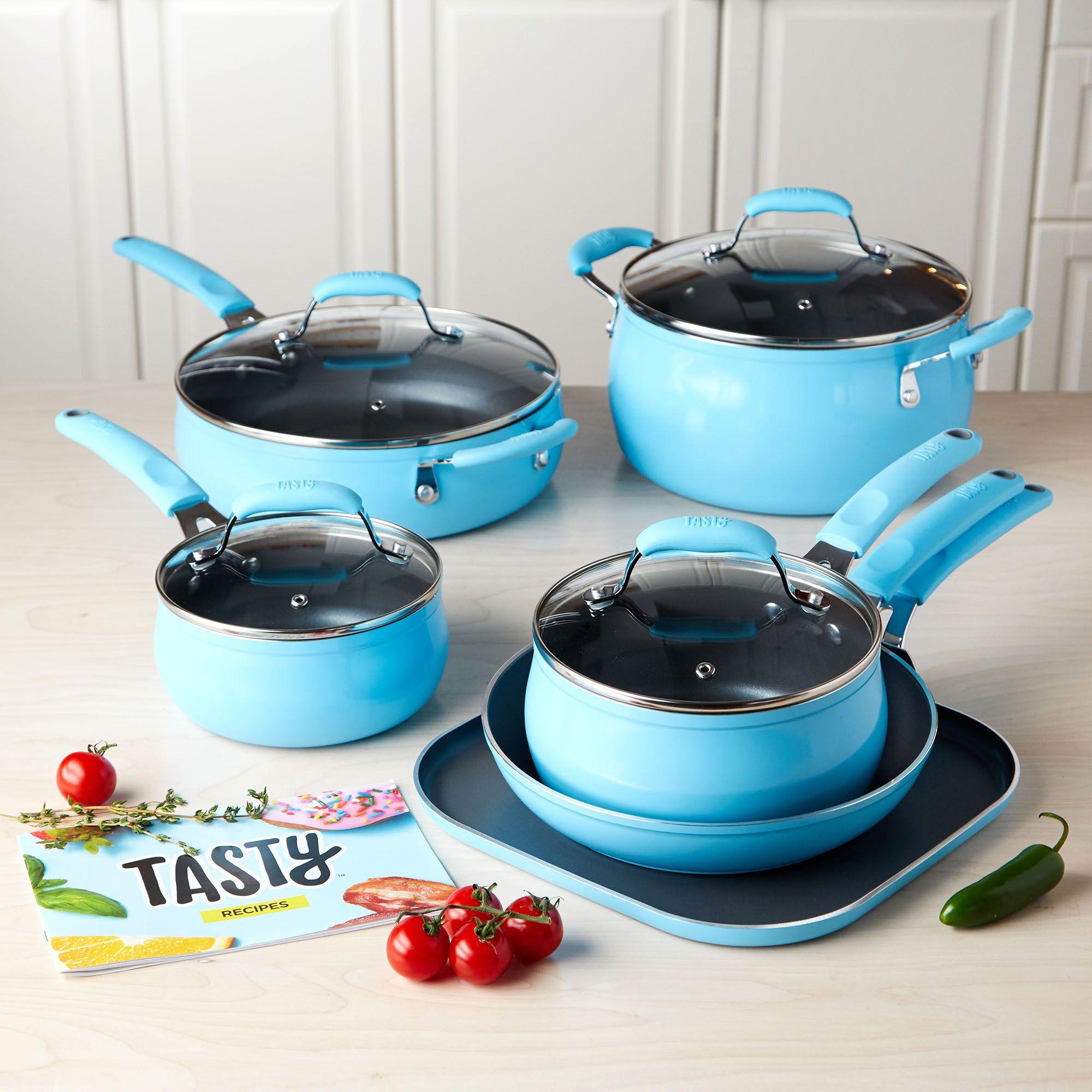 Tasty 11pc Cookware Set Non Stick Diamond Reinforced Blue