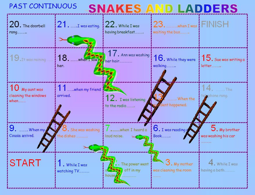 Past continuous snakes and ladders boardgame past simple for Escaleras mecanicas en ingles