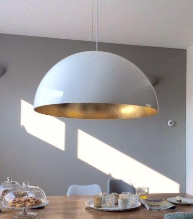 koepellamp wit zwart bladgoud bladzilver en bladkoper keuken