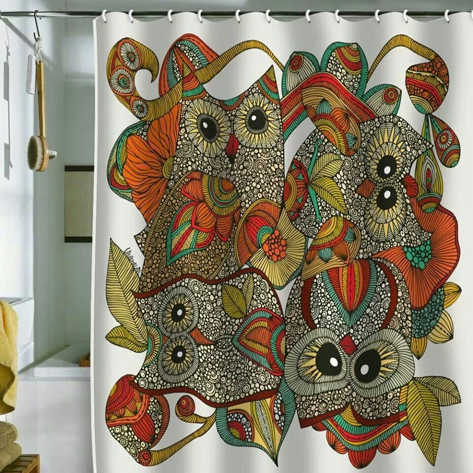 Owl shower curtain for the camper, yes! - I Love OWLS!!! | Pinterest