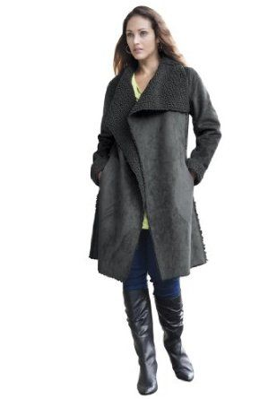 cc9d2594401 Jessica London Plus Size Faux Shearling Coat Charcoal