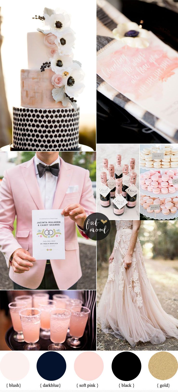 Black on black wedding decor  Black and Blush Pink Wedding  Romantic Wedding Color Scheme