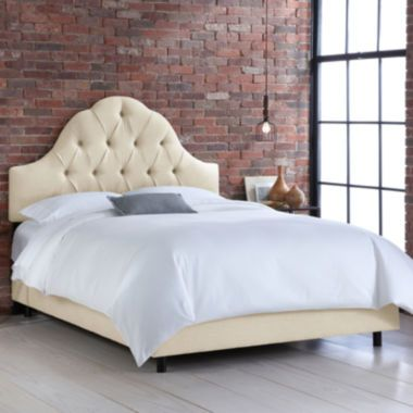 Belfort Upholstered Linen Arched Tufted Bed Found At Jcpenney