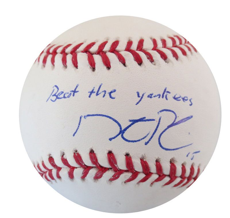 """Dustin Pedroia Autographed Baseball """"Beat the Yankees"""" - MLB Hologram Dustin Pedroia Autographed MLB signed autographed"""
