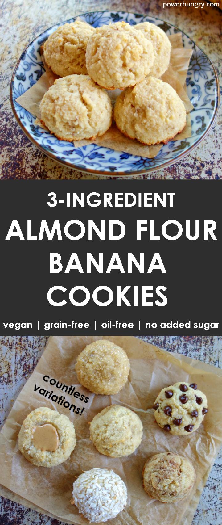 3 Ingredient Almond Flour Banana Cookies Vegan Grain Free