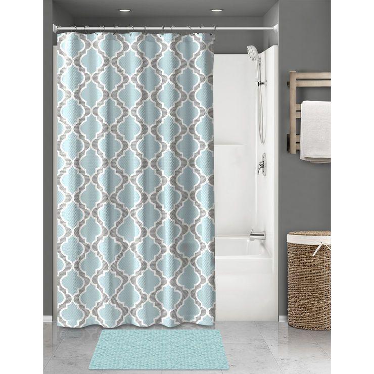 Aqua Rug Set Benson 15 Piece Shower Curtain Hangers Curtain