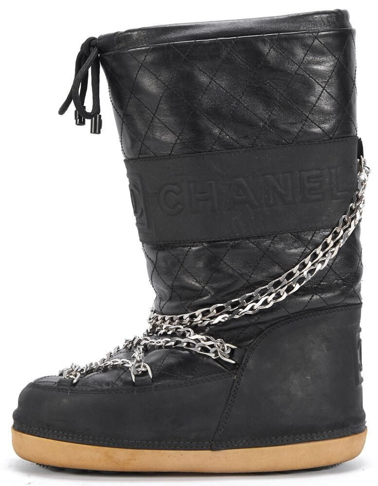 huge selection of 5023e afaa8 CHANEL Black Leather Mid-Calf Chain-link Moon Boots Size US ...