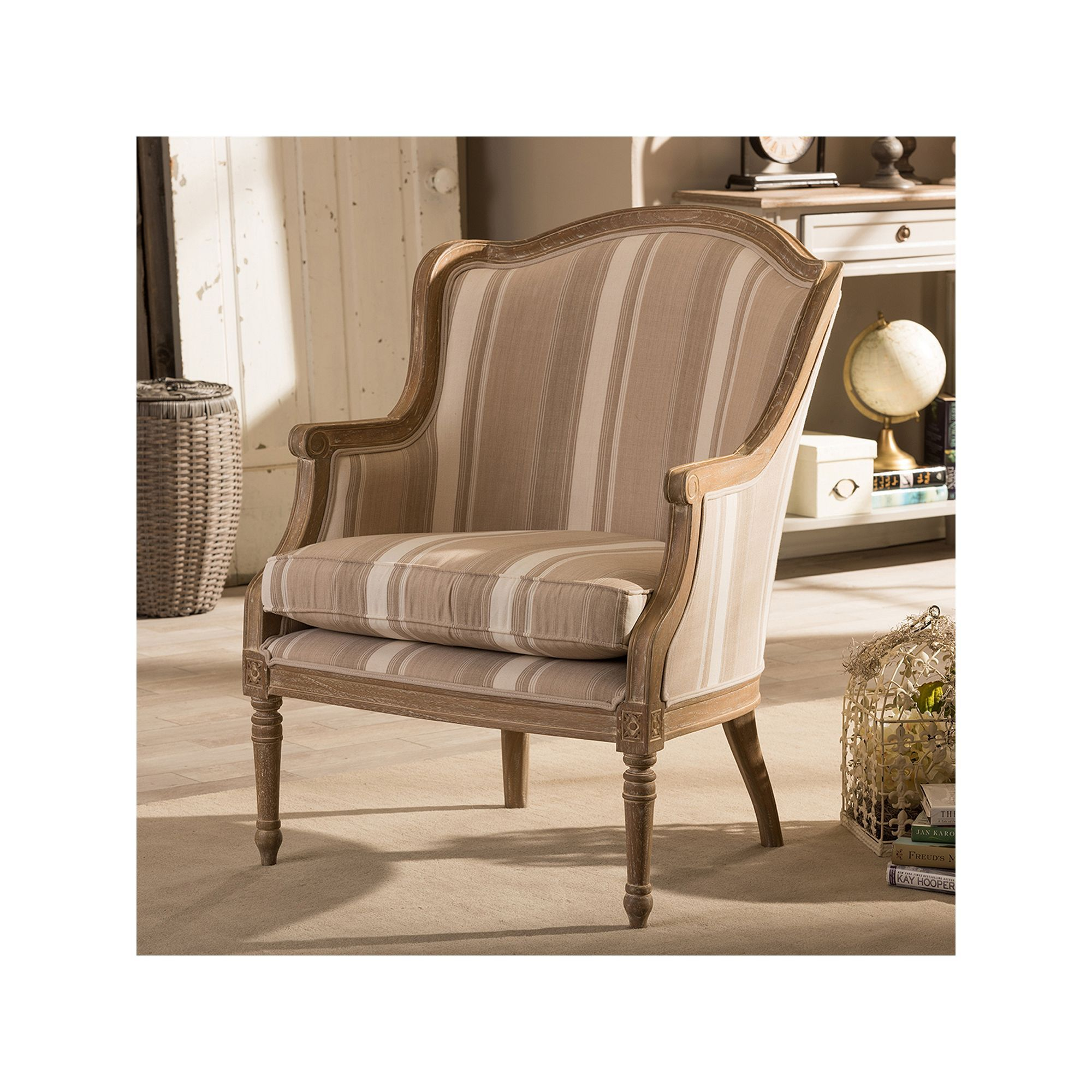 Baxton Studios Charlemagne Accent Chair Oak: Baxton Studio Charlemagne French Accent Chair
