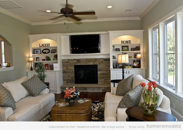 Family Room Decorating Ideas With Fireplace: Beautiful Family Room Design Ideas With Fireplace Ideas   Interior    ,