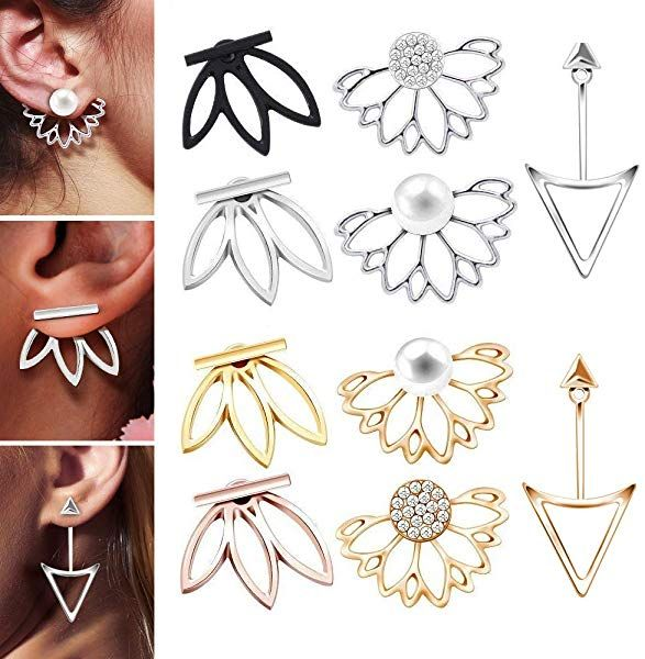 a44e36fce Amazon.com: 10 Pairs Ear Jacket Stud Lotus Flower Earrings for Women and  Girls Set for Sansitive Ears Simple Chic Jewelry: Jewelry