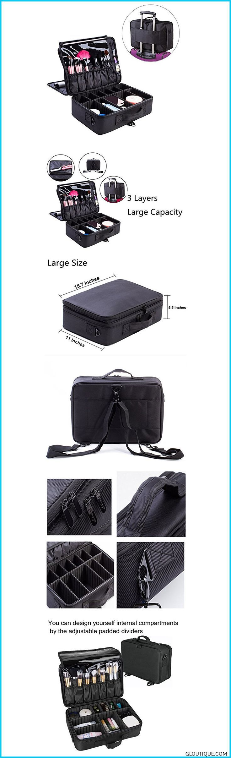 Makeup Train Case, FLYMEI Large Space Cosmetic Organizer
