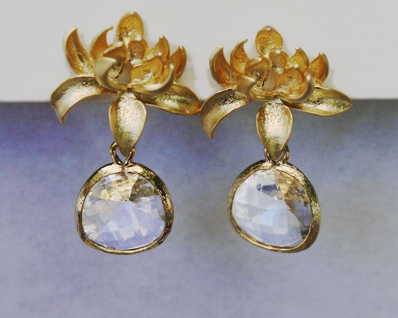 SALE Lotus flower stud post earrings in gold with framed clear crystal drop Weddings bridal prom graduation. $19.00, via Etsy.