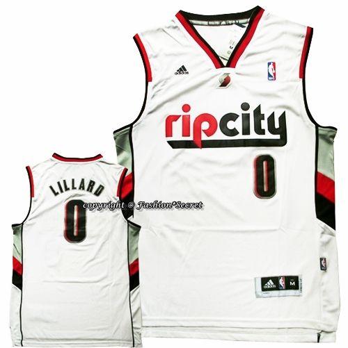 best sneakers 93547 e3a68 NBA Rip City Damian Lillard #0 Revolution 30 White Man ...