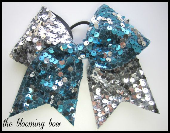 f80925b70c Cheer Bow - Turquoise and Silver Sequin Tick Tock Bow via Etsy ...