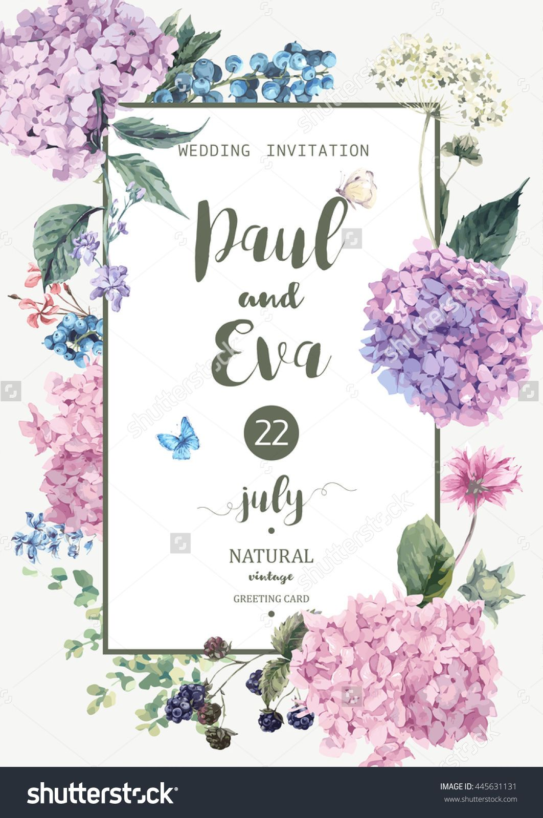 vintage floral wedding invitation with blooming hydrangea and garden