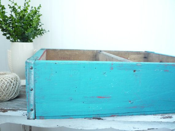 Vintage Coca Cola Wood Crate Soda Box Storage Painted Turquoise Cottage Coastal Decor 48 00