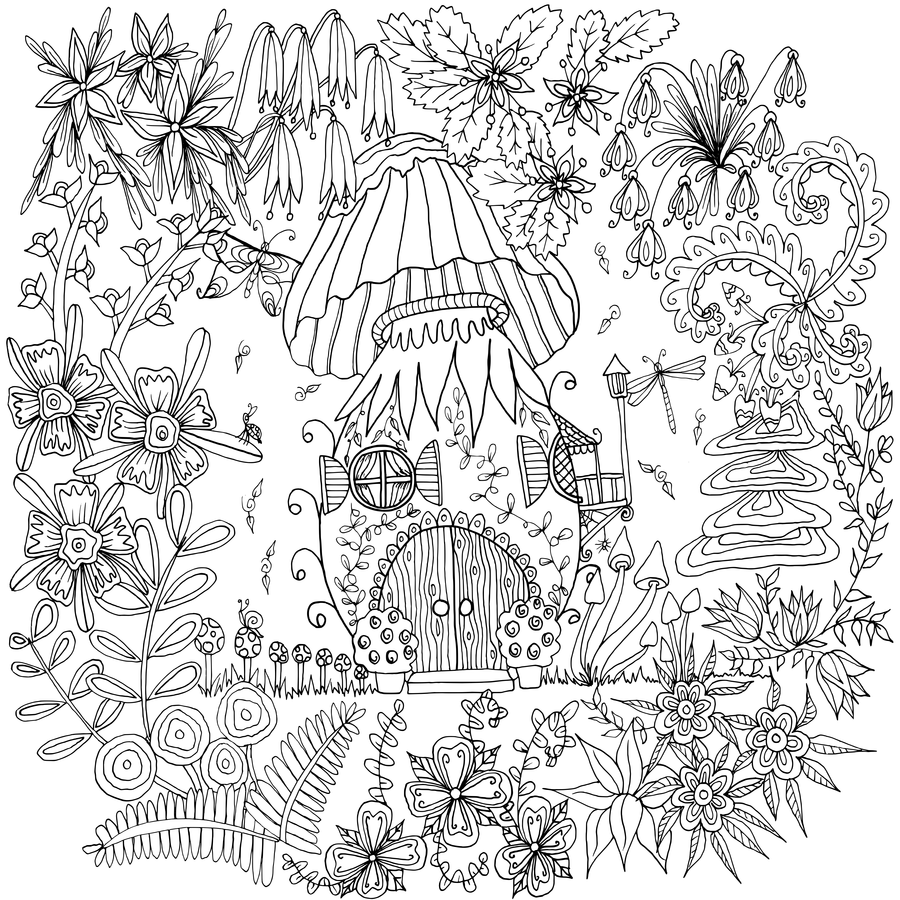 Ausmalbilder Mandala Herbst : Mushroom House By Welshpixie Deviantart Coloring Pages Art