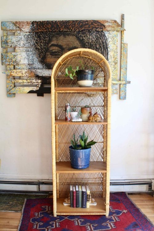 Vintage Boho Wicker Bookshelf Shelves Display