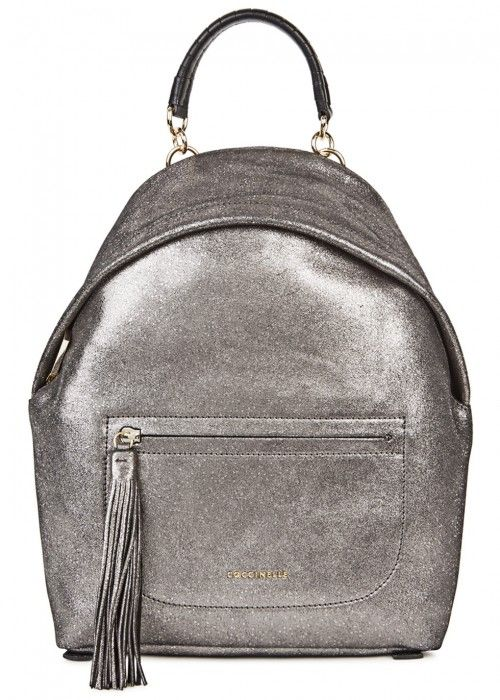 COCCINELLE LEONIE GUNMETAL LEATHER BACKPACK.  coccinelle  bags ... 3b287e1e0d7fd