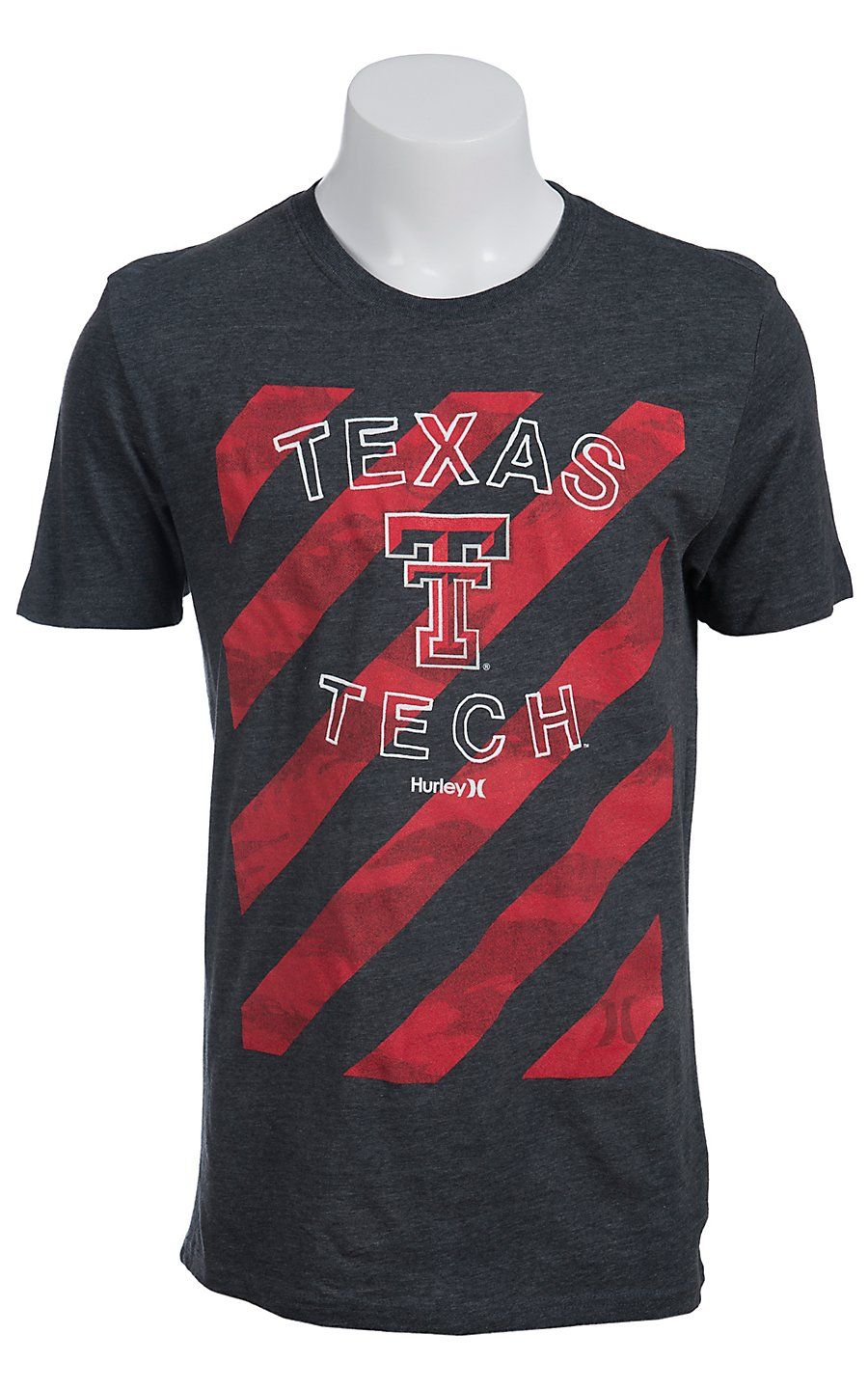 b1a6c7c4 Hurley® Men's Charcoal Grey with Red Stripes Texas Tech Short Sleeve Tee