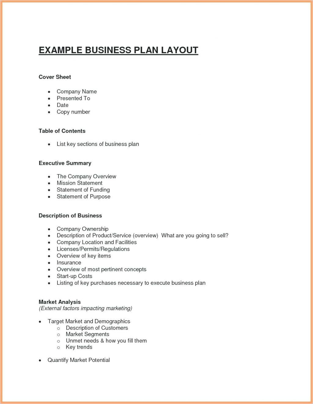 Basic Business Plan Sample Simple Template Pdf Retail Word