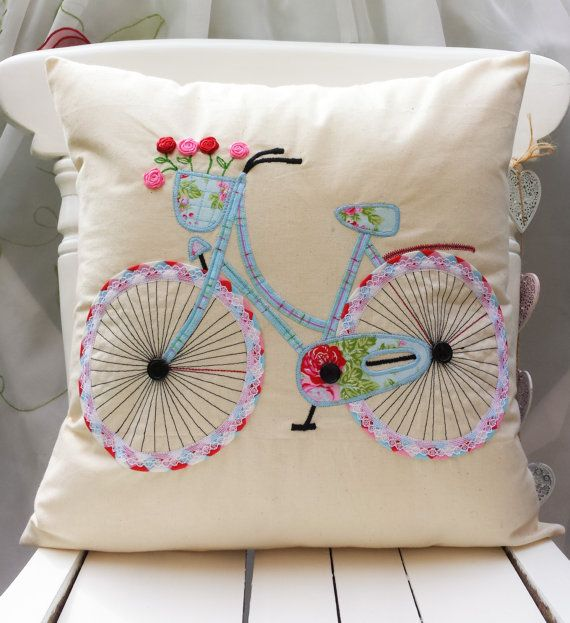 bicycle pillow cover applique cushion handcrafted. Black Bedroom Furniture Sets. Home Design Ideas