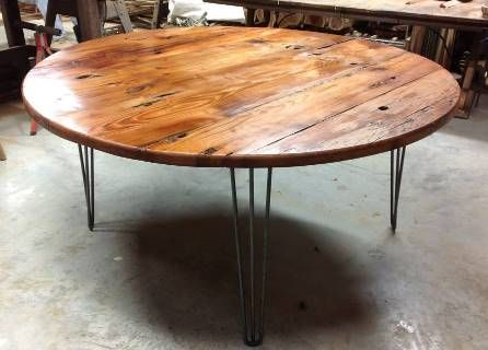 round reclaimed wood dining table google search