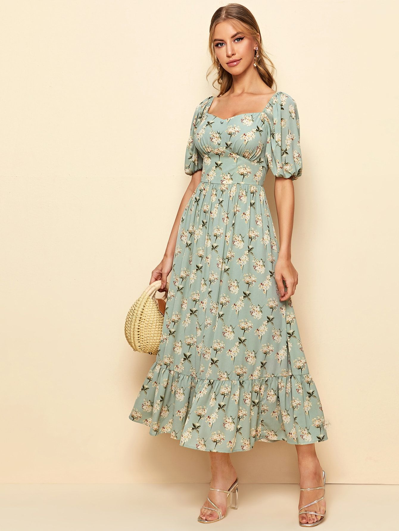 Button Front Sweetheart Neck Floral Print Dress Shein Usa Floral Dress Outfits Print Dress Floral Print Dress [ 1785 x 1340 Pixel ]