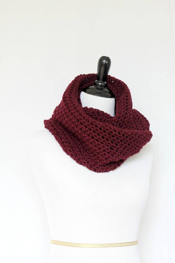 Brand new burgundy crochet cowl! This crochet cowl scarf is a cozy ...