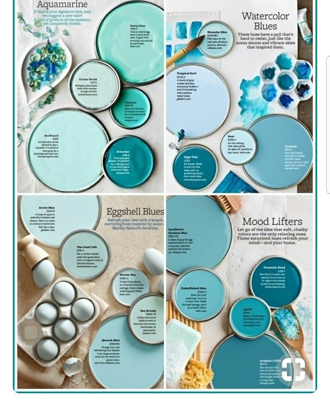 Aquamarine Paint Colors Via Bhg Com: Blue Paint Colors
