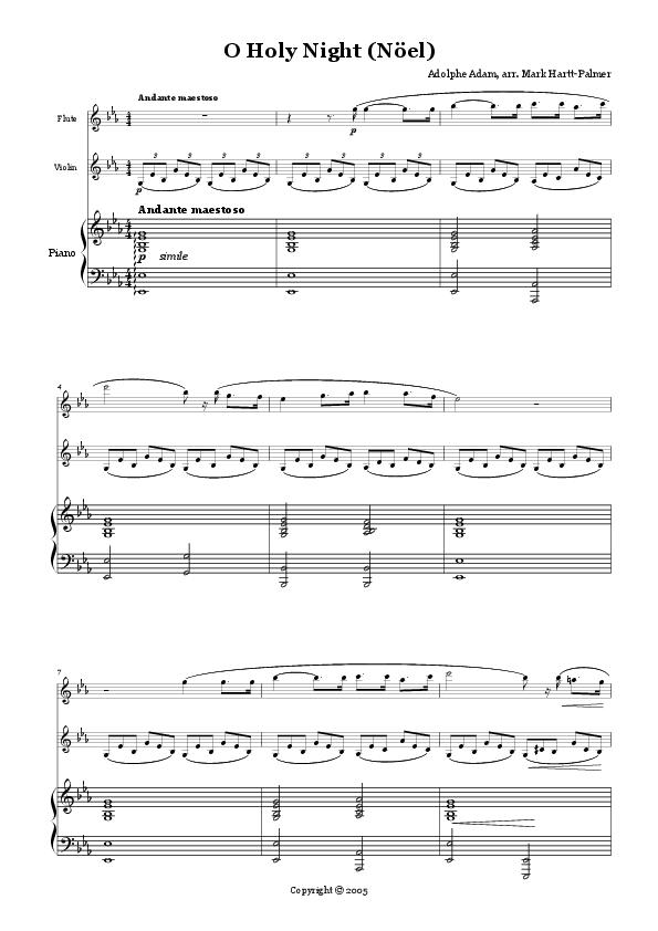 Piano o holy night advanced piano sheet music : O Holy Night (verion for Flute, Violin & Piano) | Music ...