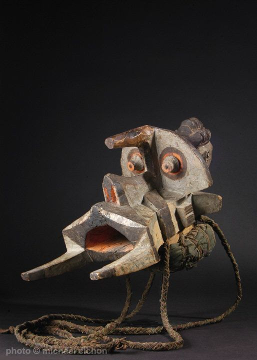 A superb Igbo Izzi elephant spirit mask - This well-used elephant spirit mask, called 'Ogbodo Enyi', was a symbol of strength and clarity for the community. It has been centuries since elephants roamed Nigeria, and this type of abstracted image of that creature is the result of verbal description rather than artistic license. Bonnie Weston (1984) reports that in 1975, when an epidemic killed many Igbo-Izzi children, a local oracle offered a successful course of healing. The oracle asked that…