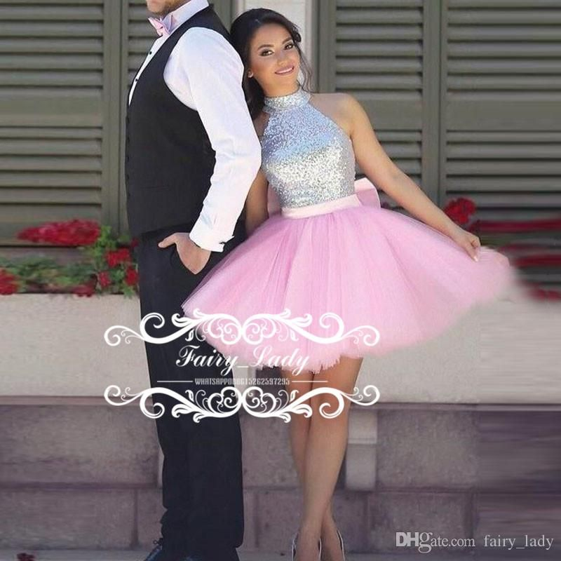 Shiny Silver Sequins Top Short Pink Homecoming Dresses For Juniors ...