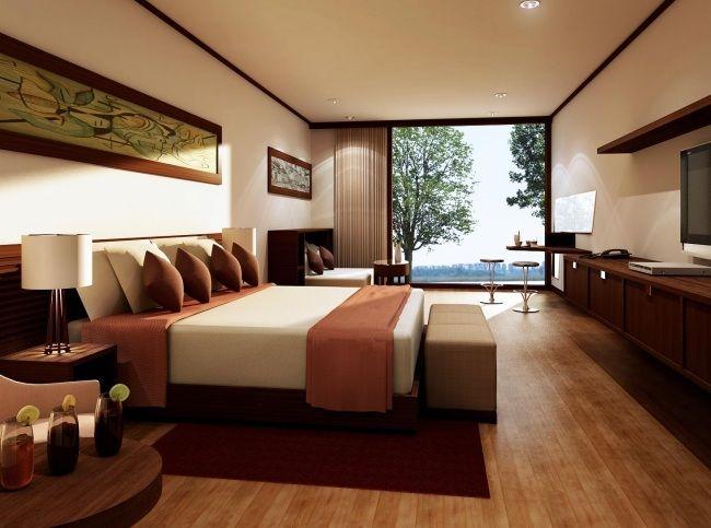 Wohnideen Schlafzimmer Modern Braun Holzboden Panoramafenster