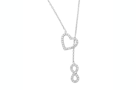 $11 for a Designer White Gold Heart & Infinity Necklace - Shipping Included ($30 Value)