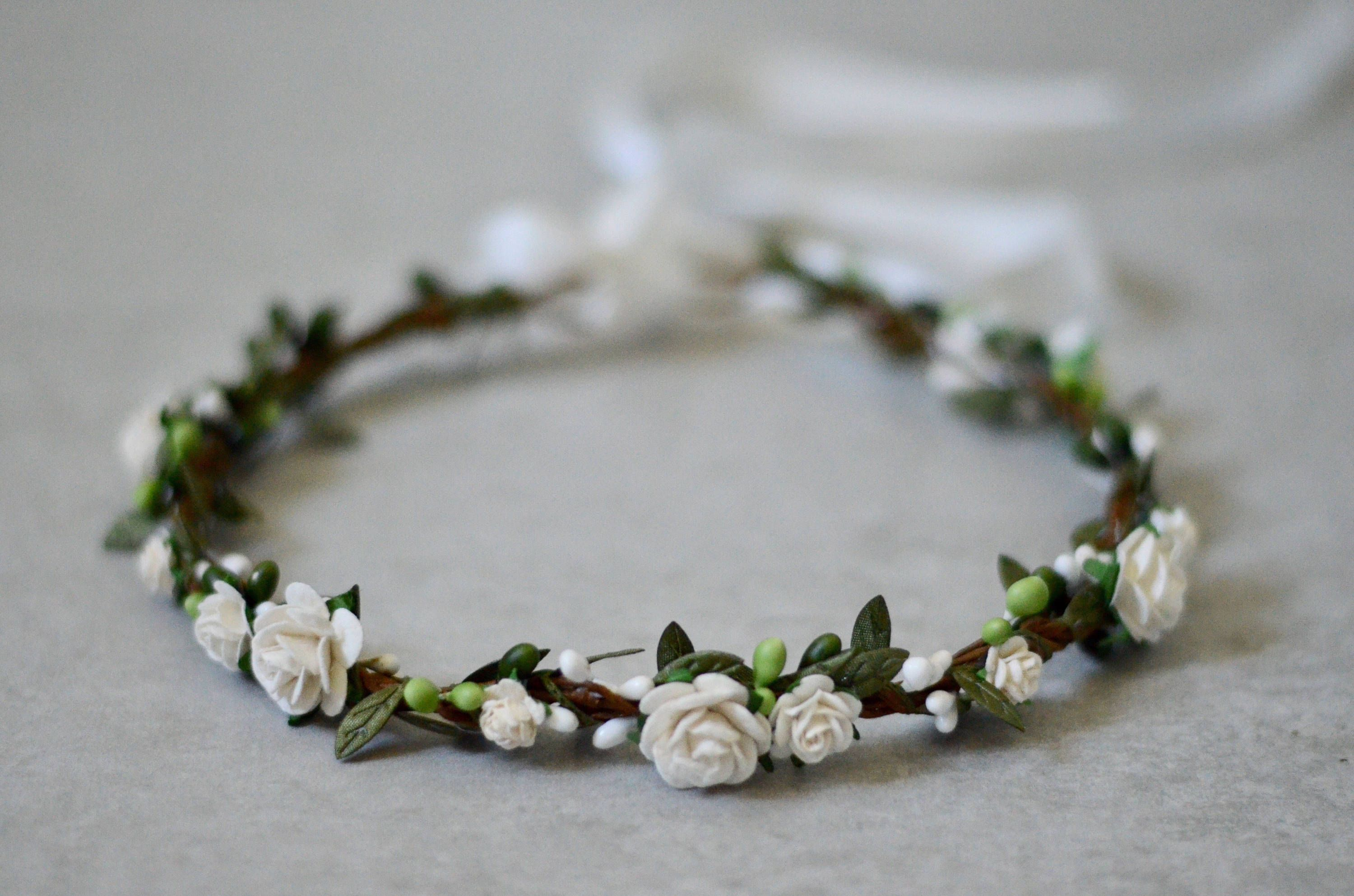 Ivory Flower Crown Firsf Communion Floral Halo Floral Crown