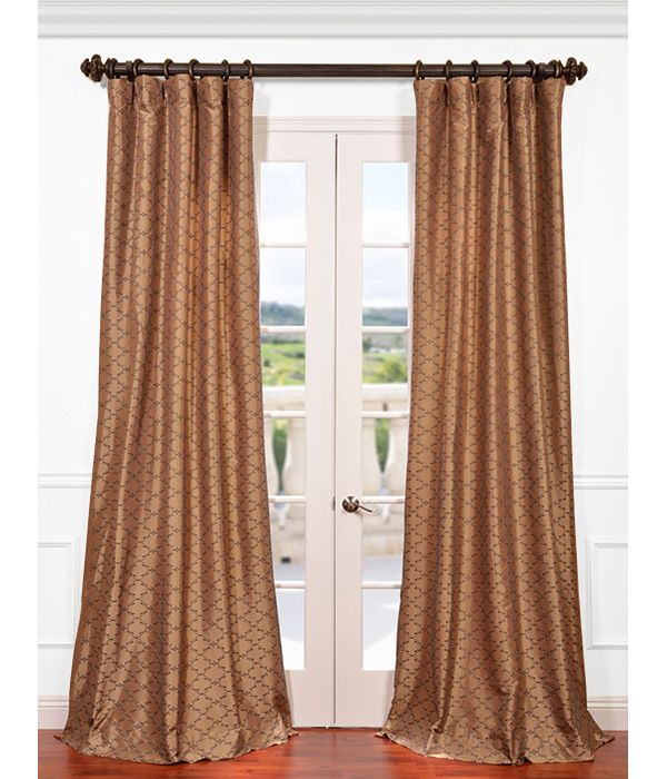 Get Morracco Bronze Embroidered Faux Silk Curtains Drapes Faux