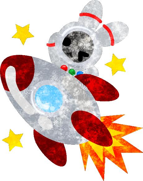 フリーのイラスト素材宇宙飛行士の姿をした可愛いウサギ Free
