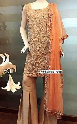 b4ee94425b Fawn rust chiffon suit buy pakistani fashion dresses and clothing online in usa  uk also designer