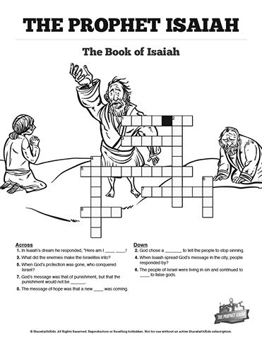 the prophet isaiah sunday school crossword puzzles with. Black Bedroom Furniture Sets. Home Design Ideas